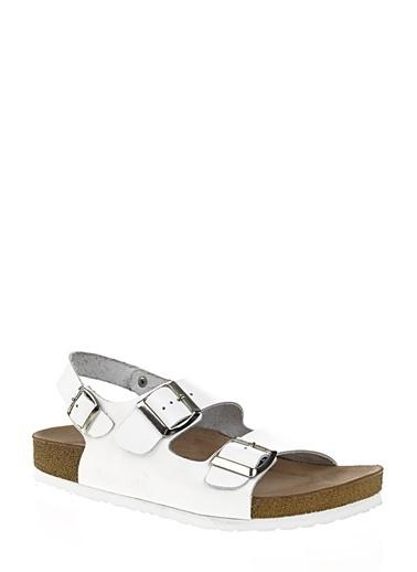 D by Divarese %100 Deri Sandalet Beyaz